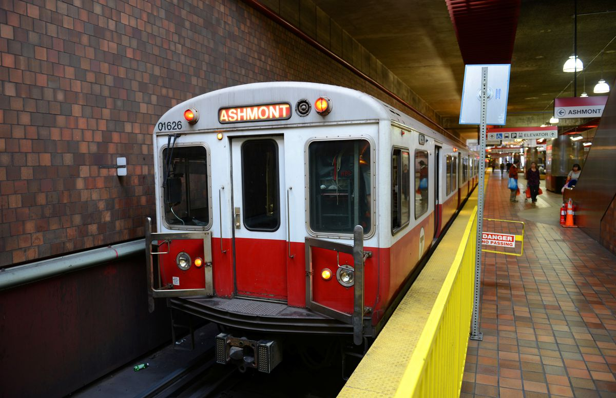 A Boston subway train coming into a station.