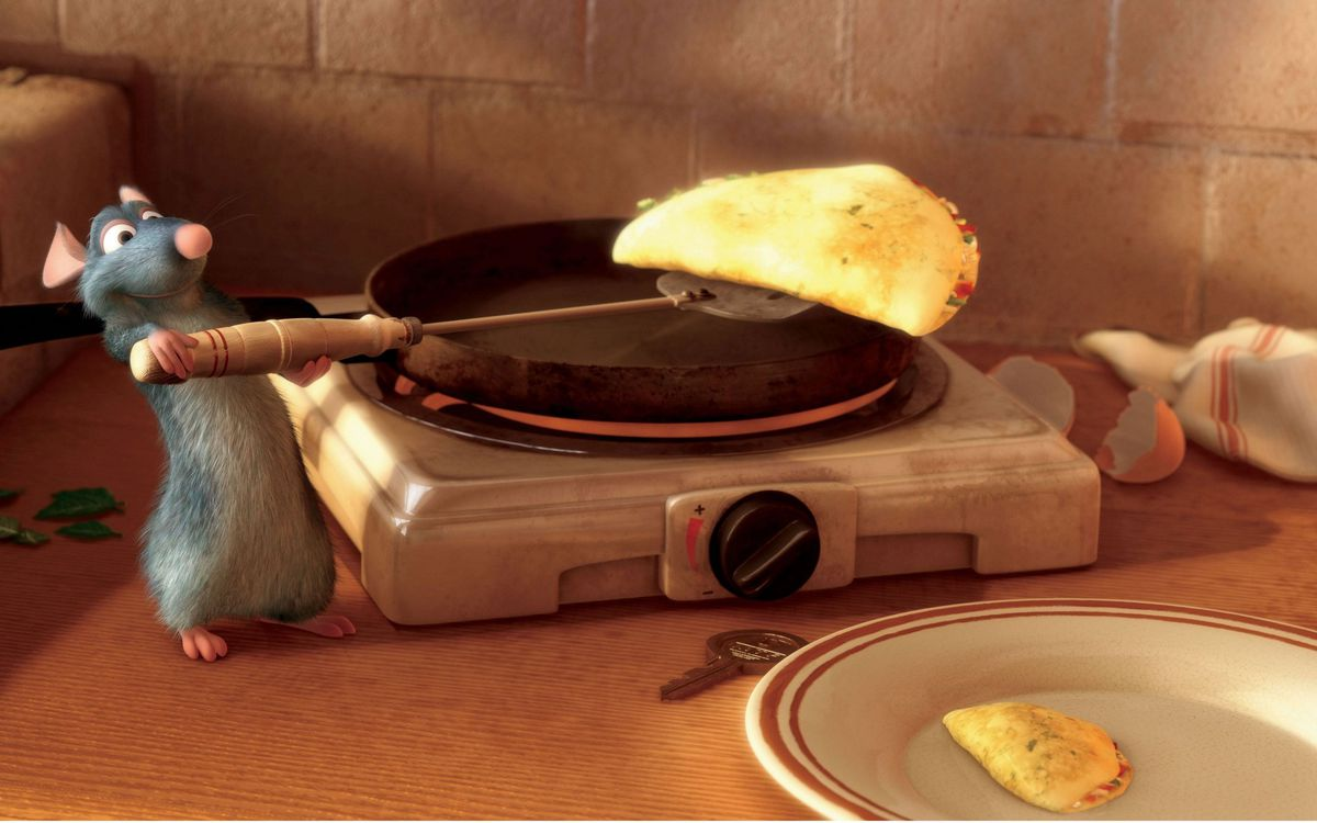 Remy the Rat makes crepes in Pixar's Ratatouille