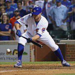 July 31: Jon Lester concentrates on what would become his walkoff bunt vs. the Mariners