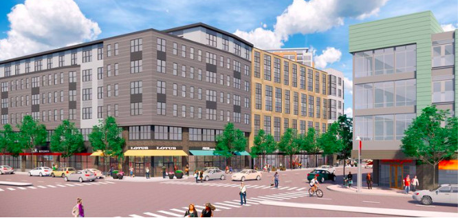 Rendering of a seven-story building on a busy street corner.