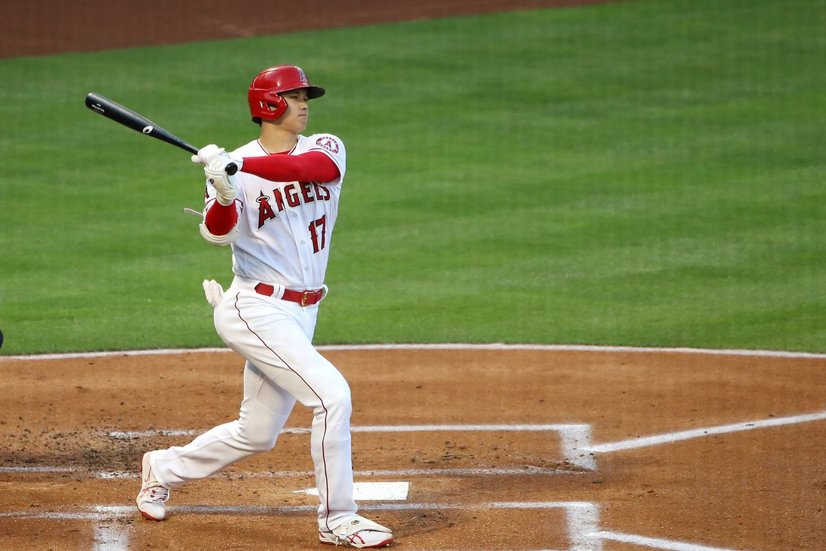 Shohei Ohtani #17 of the Los Angeles Angels at bat against the Chicago White Sox during the game at Angel Stadium of Anaheim on April 02, 2021 in Anaheim, California.
