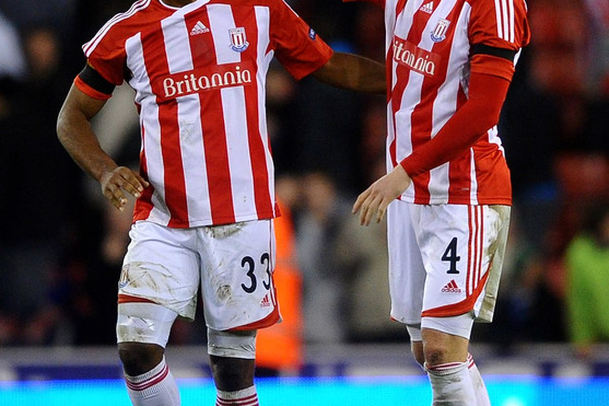Robert Huth of Stoke City congratulates team mate Cameron Jerome at the end of the UEFA Europa League Group E match between Stoke City and FC Dynamo Kyiv at the Britannia Stadium in Stoke, England.