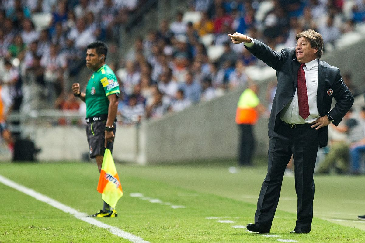 Xolos manager Miguel Herrera shouts instructions during Tijuana's match against Monterrey.
