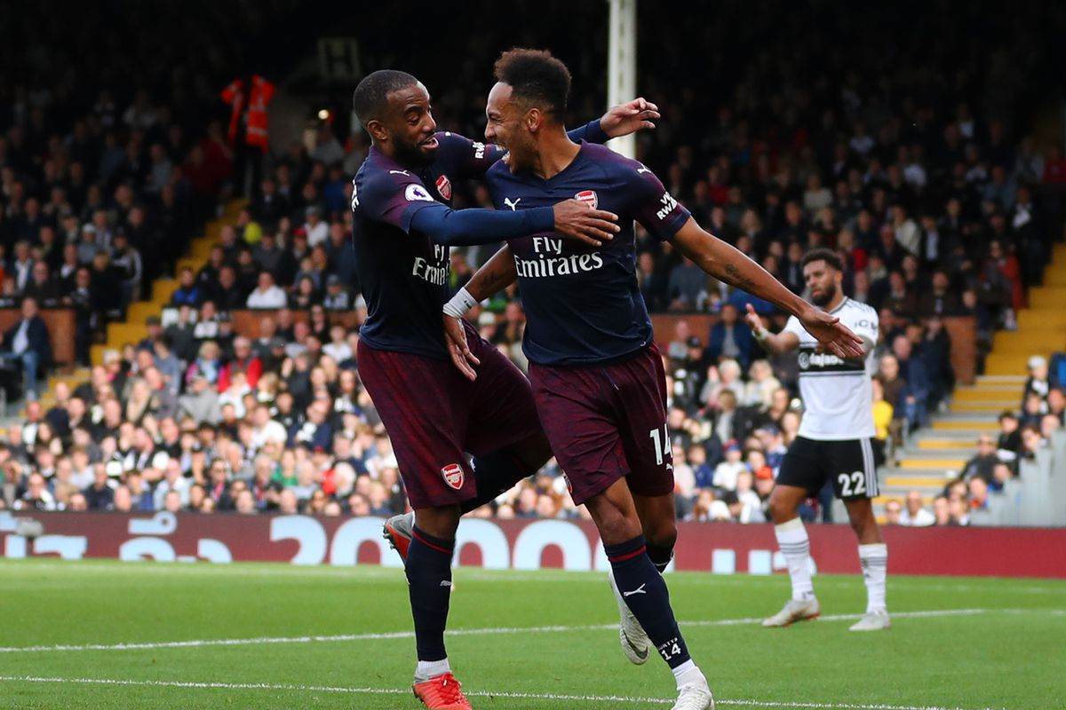 Pierre-Emerick Aubameyang celebrates with Alexandre Lacazette after scoring Arsenal's fourth goal - Premier League