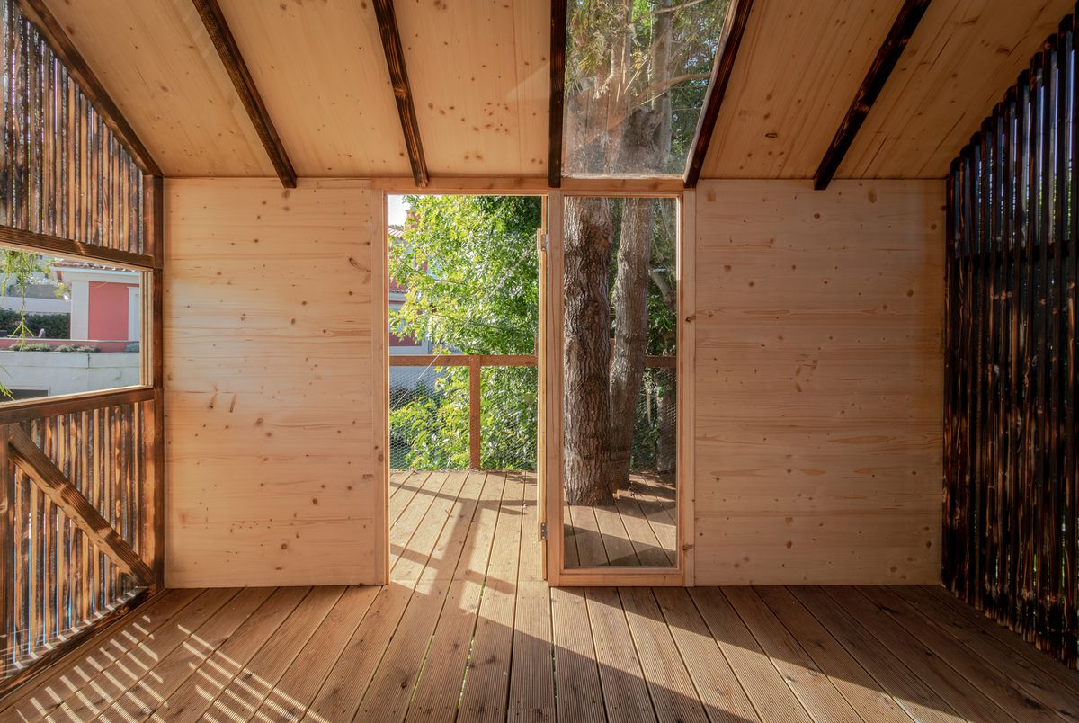 The inside of a wooden treehouse shows an entryway with a glass panel, looking out to the deck.
