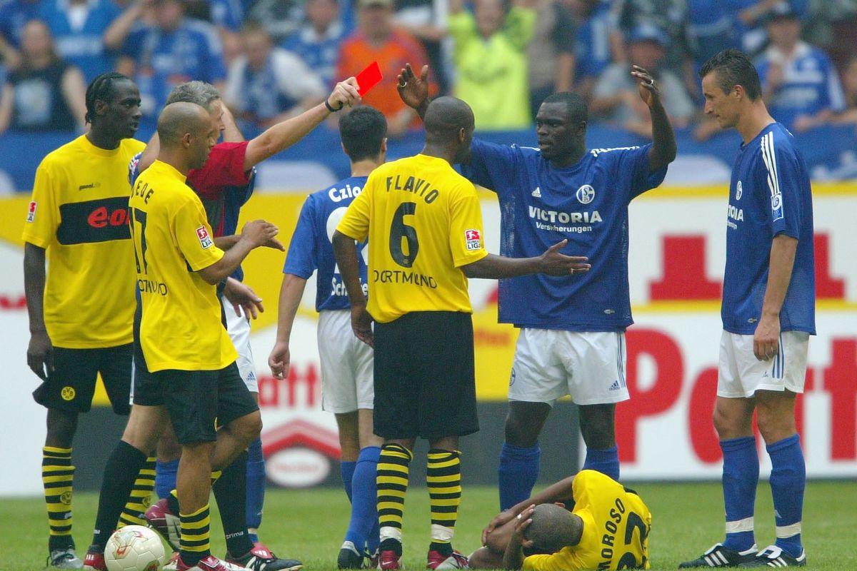 Red Card for Gerlad Asamoah of Schalke