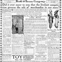 A Nov. 26, 1910, ad from Keith O'Brien Company, a large downtown merchant.