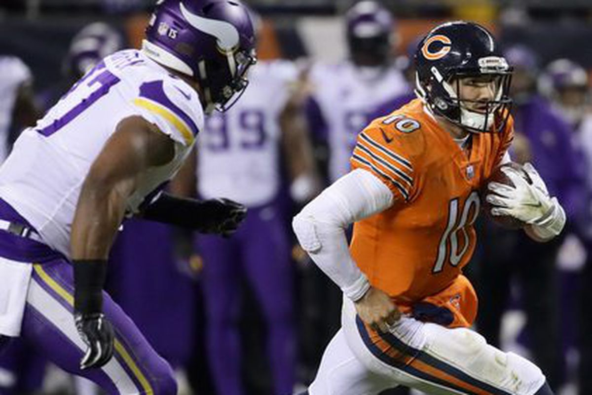Bears quarterback Mitch Trubisky carries the football Sunday. | Jonathan Daniel/Getty Images