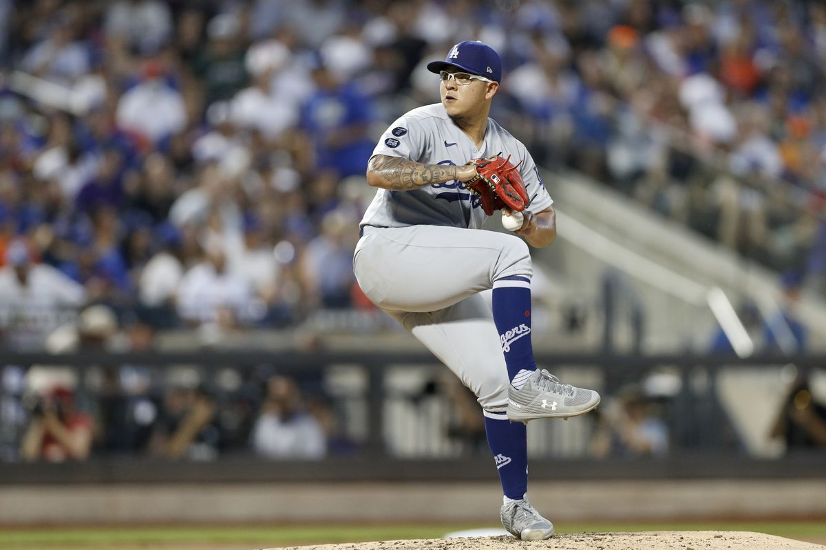 Julio Urias #7 of the Los Angeles Dodgers in action against the New York Mets at Citi Field on August 13, 2021 in New York City.