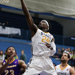 Salt Lake City Stars guard Jermaine Taylor (24) lays it up during the game against the Los Angeles D-Fenders at the Lifetime Activities Center in Taylorsville on Wednesday, Feb. 08, 2017.