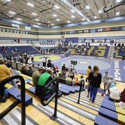 Girls compete for the 6A State Wrestling championship at West Lake High in Saratoga Springs on Monday, Feb. 15, 2021.