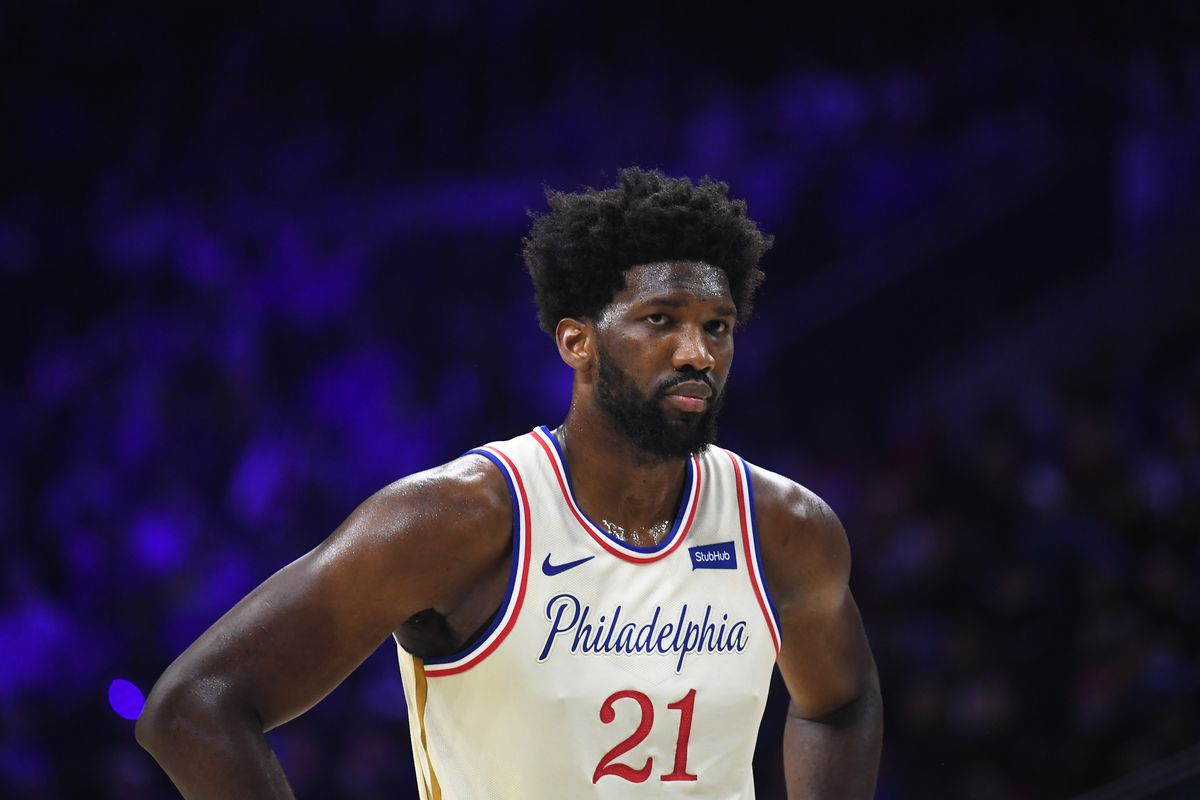 Philadelphia 76ers center Joel Embiid looks on during the fourth quarter against the Indiana Pacers at Wells Fargo Center.
