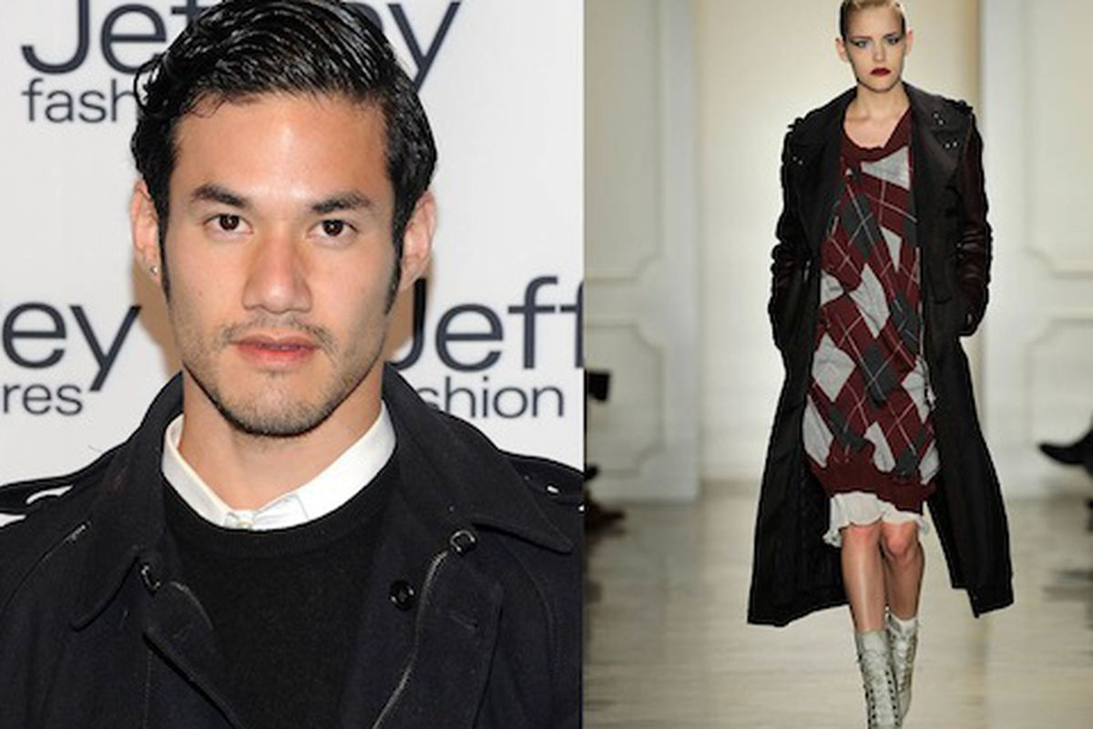 Joseph Altuzarra at the Jeffrey Fashion Cares event (left); A look from the Altuzarra FW2011 runway show (right) via Getty Images