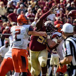 RS JR DT Fredrick Jones tries to knock down a pass.