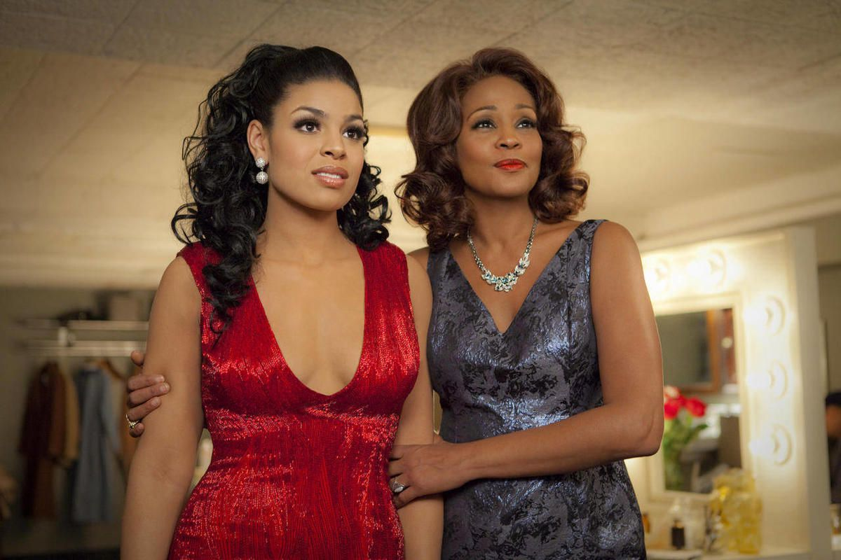 """FILE - In this undated file image provided by Sony Pictures Entertainment, singer-actresses Jordin Sparks, left, and Whitney Houston are shown in a scene from the upcoming film """"Sparkle."""" Viewers got a first glimpse of Houston's upcoming film Monday, Apri"""