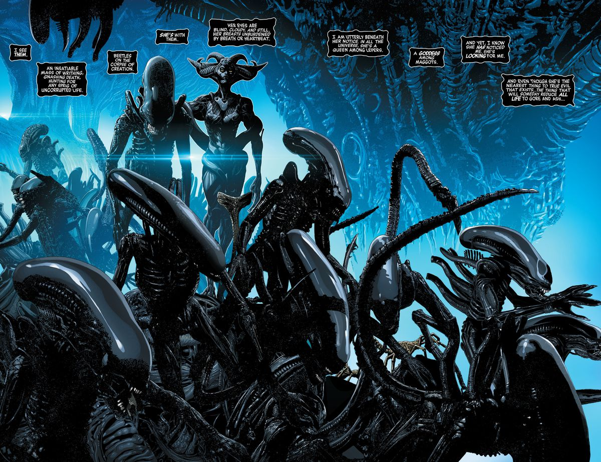 A writhing nest of xenomorph aliens, overseen by a darkly feminine figure in Alien #1, Marvel Comics (2021).