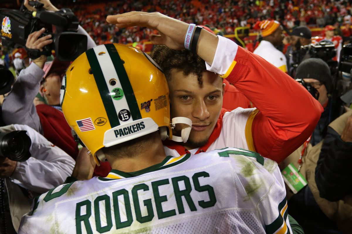 Green Bay Packers quarterback Aaron Rodgers (12) and Kansas City Chiefs quarterback Patrick Mahomes (15) hug at midfield after an NFL game between the Green Bay Packers and Kansas City Chiefs on October 27, 2019 at Arrowhead Stadium in Kansas City, MO.