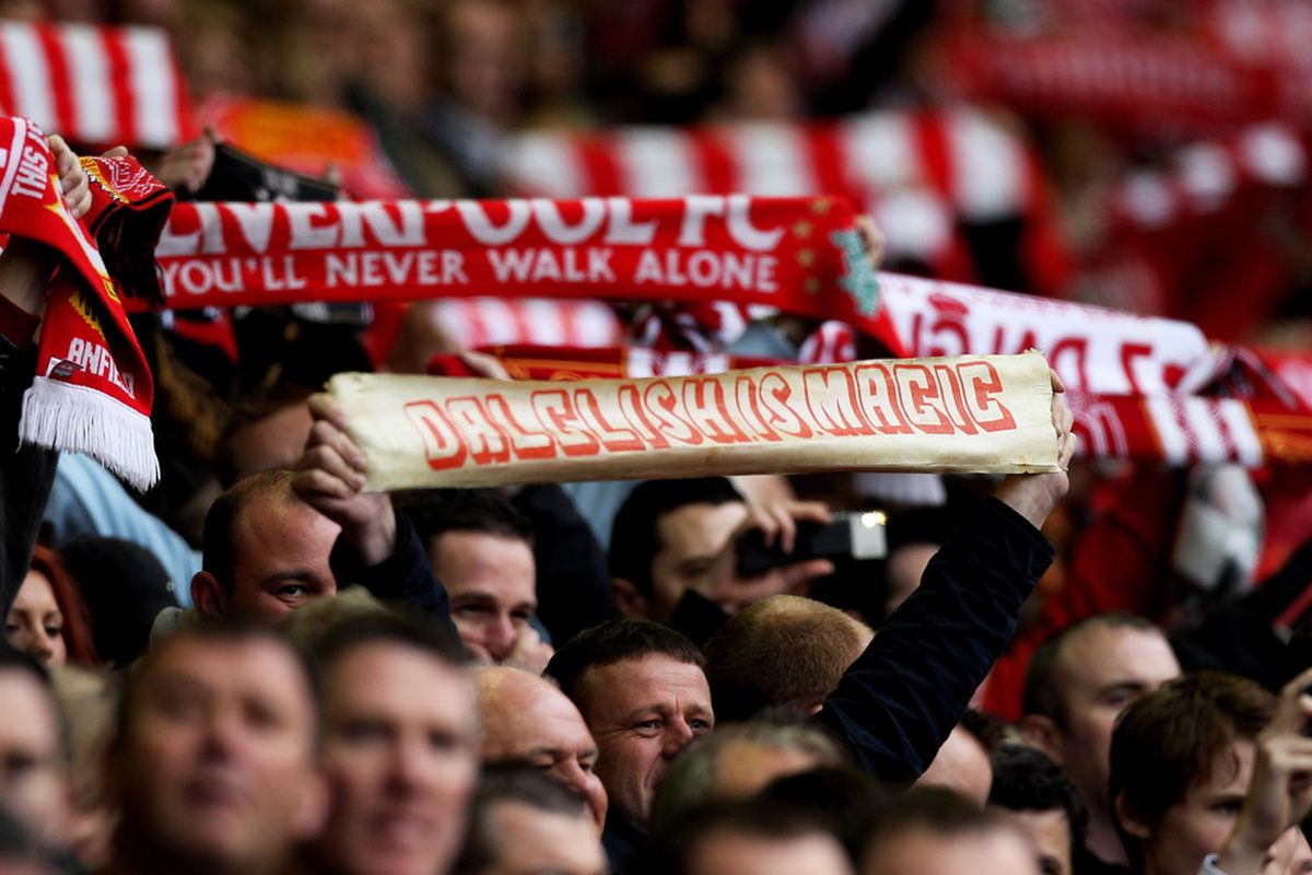 LIVERPOOL, ENGLAND - MAY 15:  Liverpool fans cheer on their team during the Barclays Premier League match between Liverpool and Tottenham Hotspur at Anfield on May 15, 2011 in Liverpool, England.  (Photo by Michael Steele/Getty Images)