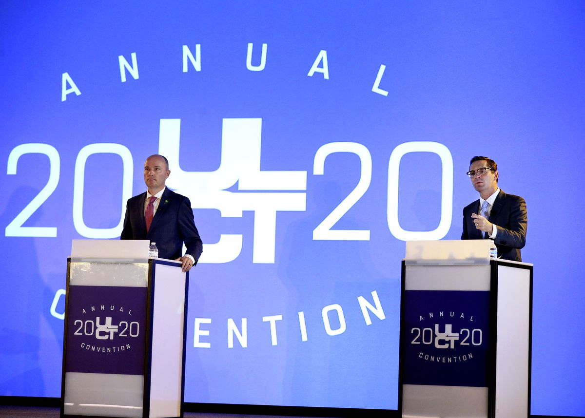 Utah gubernatorial candidates Republican Lt. Gov. Spencer Cox, left, and Democrat Chris Peterson debate during the Utah League of Cities and Towns' virtual annual convention at the Salt Palace in Salt Lake City on Friday, Sept. 25, 2020.