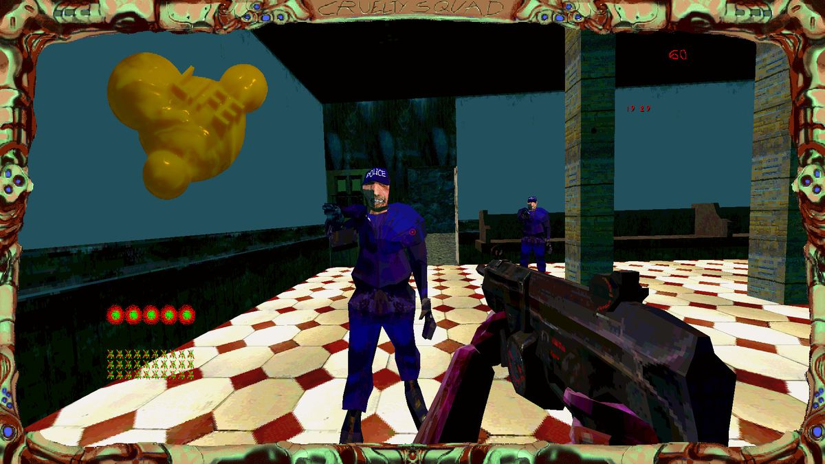 Cruelty Squad - the player confronts two guards, one of which is sneering as he raises his weapon.