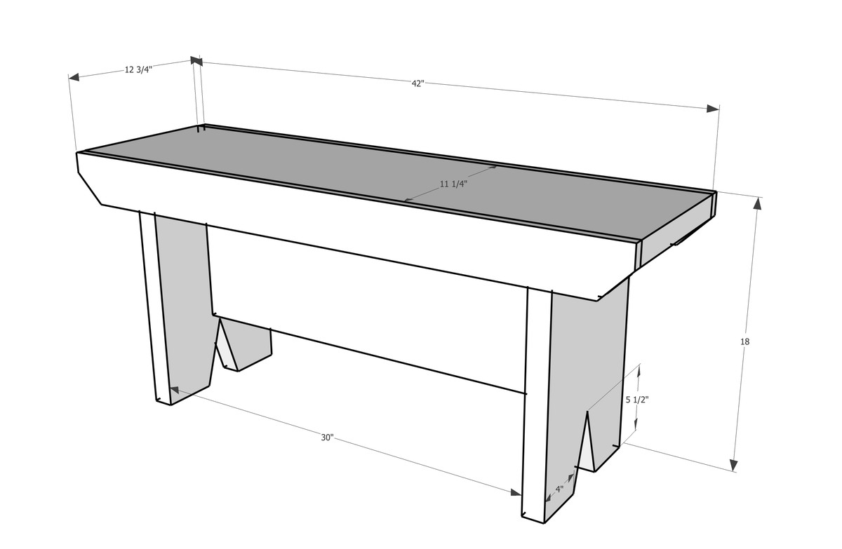 Drawing of garden bench