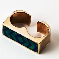 Double-finger inlay ring in bronze, malachite, and lapis.