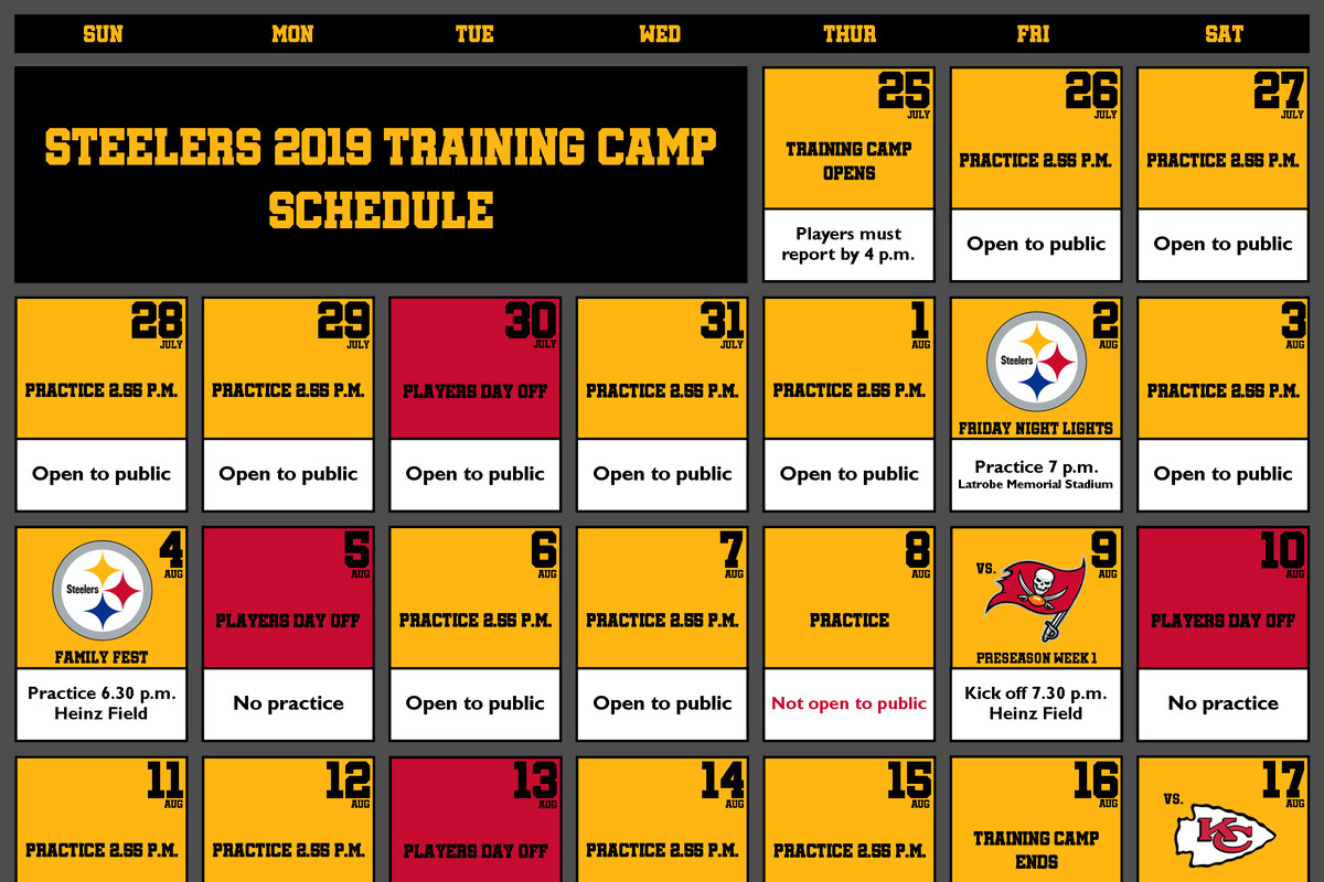 Steelers Schedule 2019 Tickets Pittsburgh Steelers announce complete 2019 training camp schedule