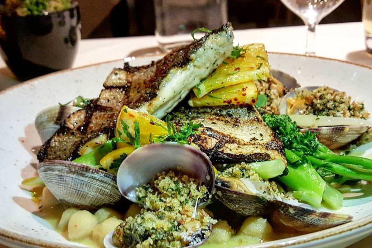 Grilled branzino at Benedetto