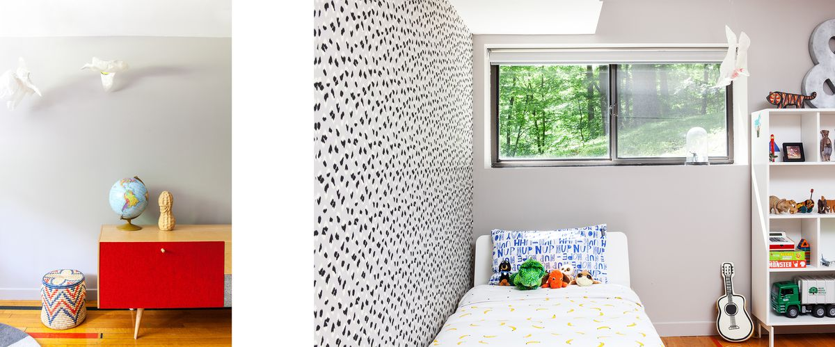 The child's room has midcentury trappings, along with color and pattern.