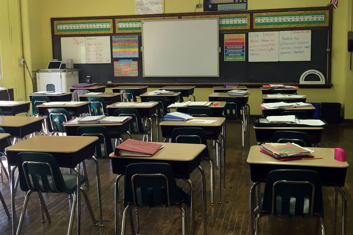Empty classroom of desks.
