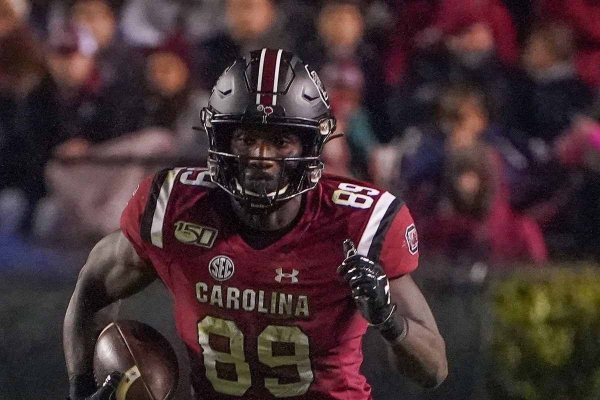 South Carolina Gamecocks wide receiver Bryan Edwards runs for yards after the catch against the Appalachian State Mountaineers during the second half at Williams-Brice Stadium.