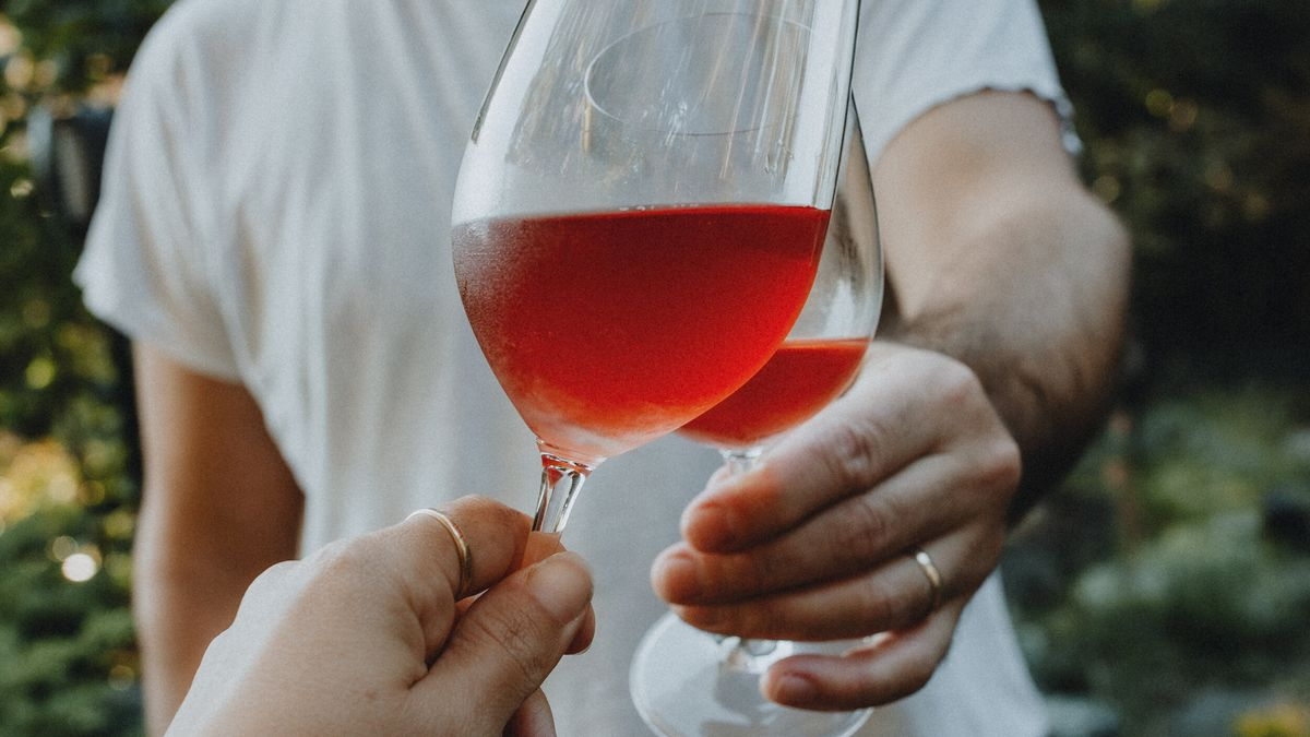 A man in a white tshirt clinks a glass of chilled light red wine with a hand holding another glass of wine