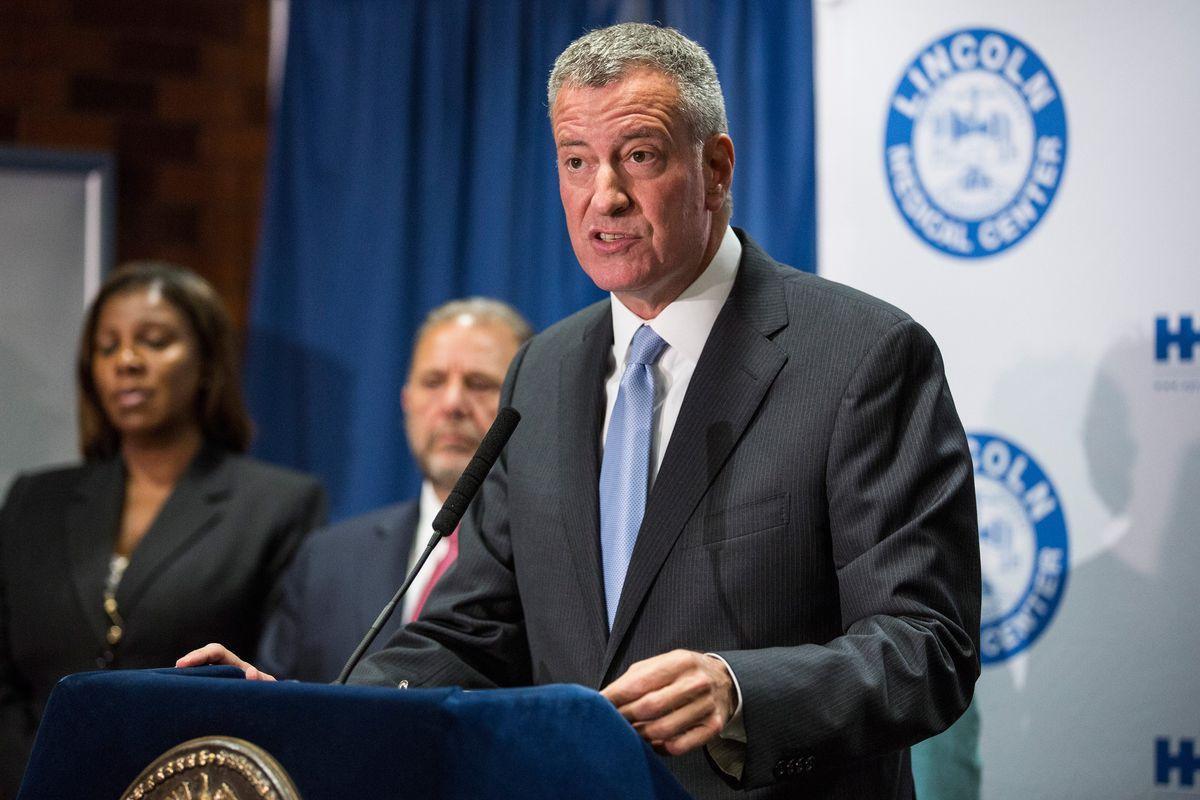 New York City Mayor Bill de Blasio at a press conference on Legionnaires' disease.