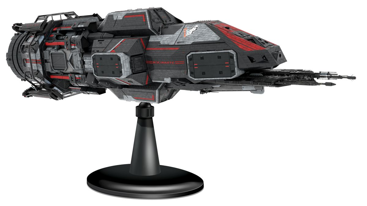 A mock-up of the Rocinante ship on offer from Idea Planet. The Expanse's ship is shown here on its articulated display base.