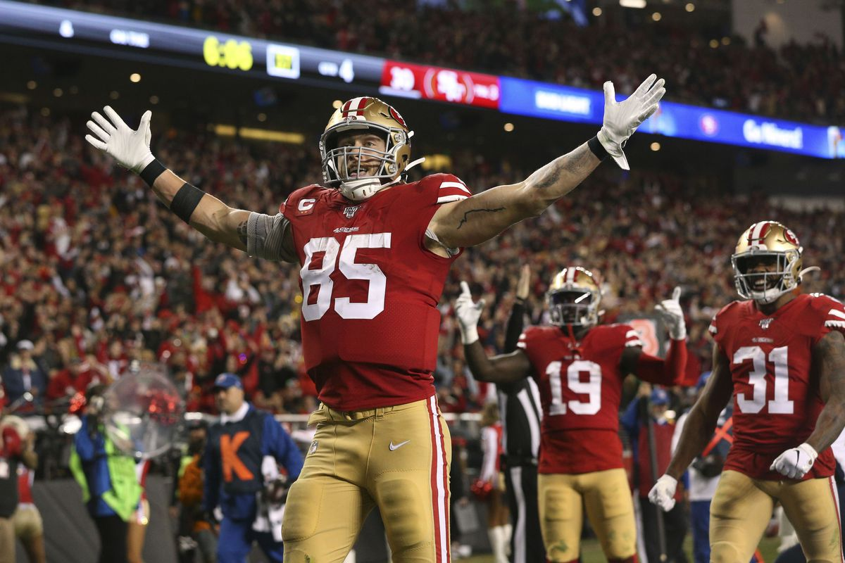 San Francisco 49ers tight end George Kittle celebrates after catching a touchdown pass against the Los Angeles Rams in the fourth quarter at Levi's Stadium.