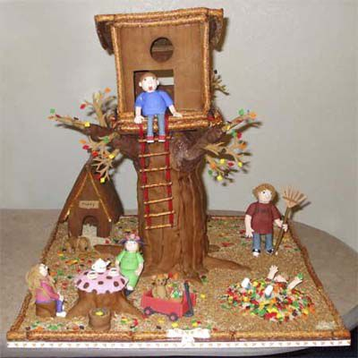 Gingerbread tree house and garden.