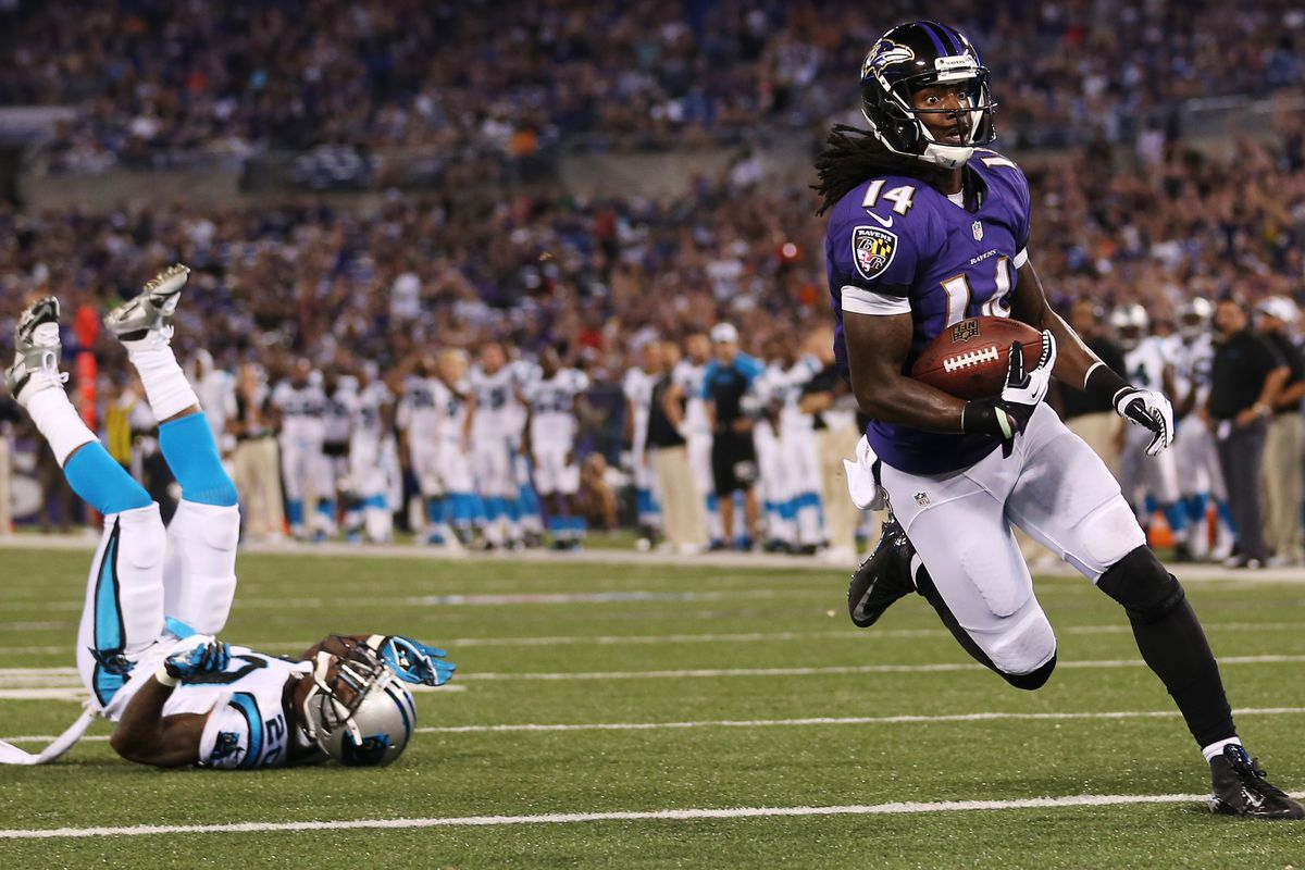 Undrafted rookie Marlon Brown caught four passes for 59 yards and a touchdown Thursday night against Carolina.