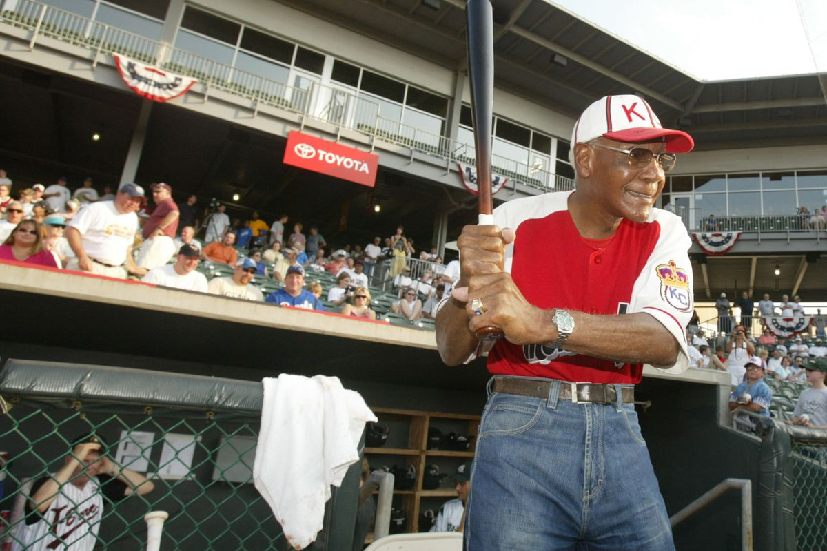 Buck O'Neil, 94, got ready for his turn at bat during the No
