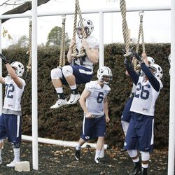 Brigham Young Cougars participate in Spring practice in Provo on Tuesday, March 1, 2016.
