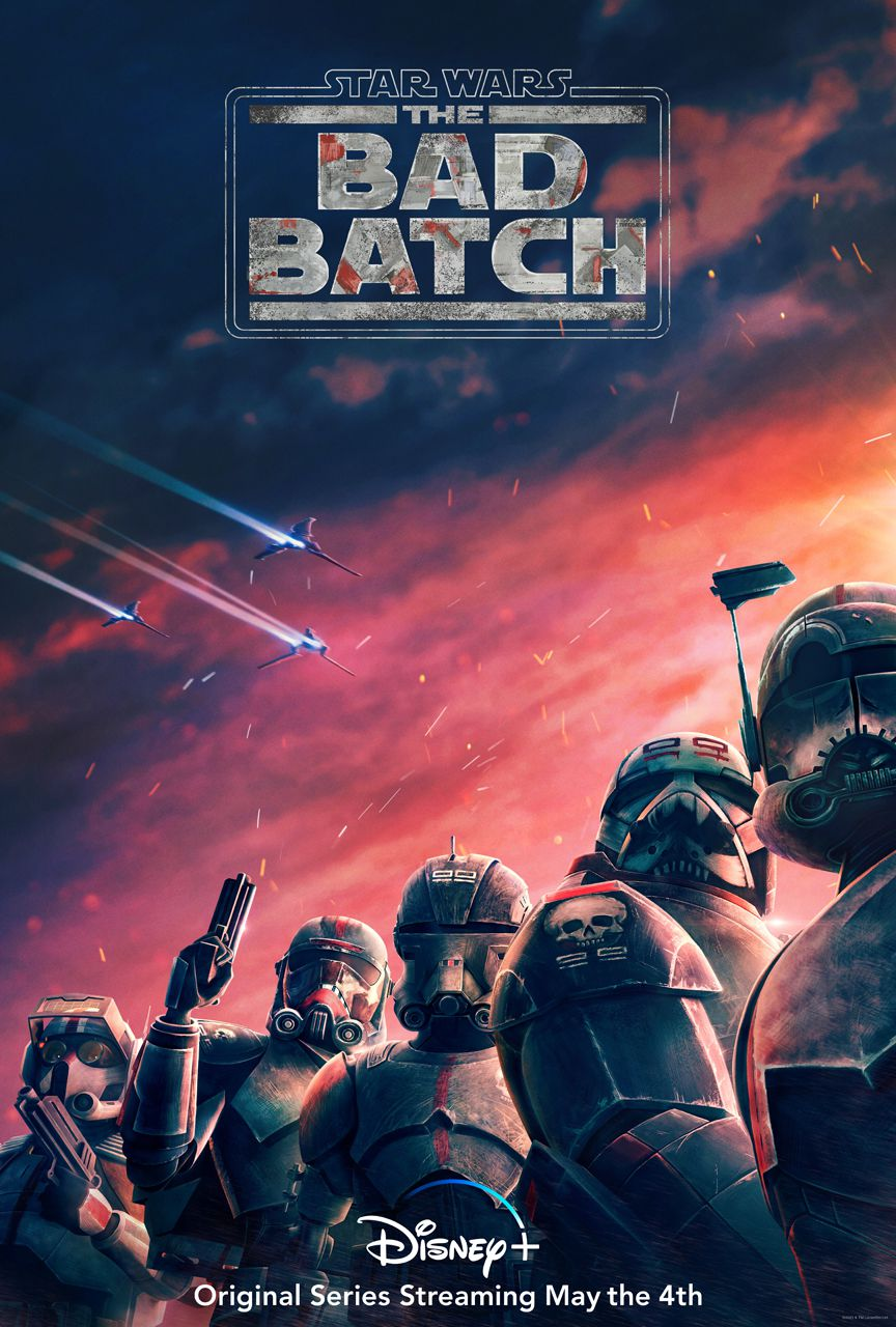 The poster for Star Wars: The Bad Batch, featuring the five members of the Bad Batch in clone trooper armor