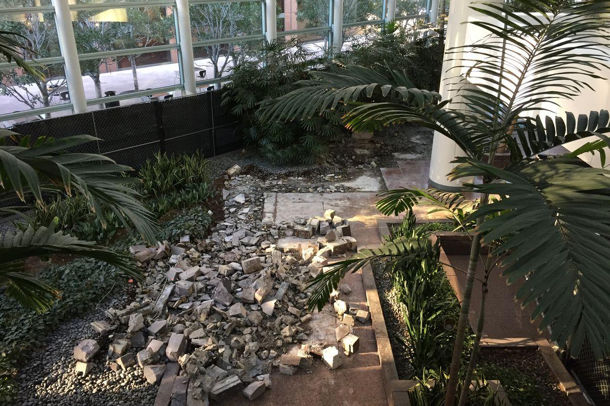 Rubble in Wells Fargo Atrium