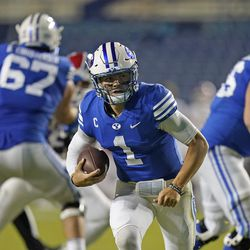 BYU quarterback Zach Wilson (1) carries the ball before scoring against Louisiana Tech during the second half of an NCAA college football game Friday, Oct. 2, 2020, in Provo.