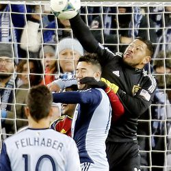 Real goalkeeper Nick Rimando punches the ball away as Real Salt Lake and Sporting KC play Saturday, Dec. 7, 2013 in MLS Cup action. Sporting KC won in a shootout.