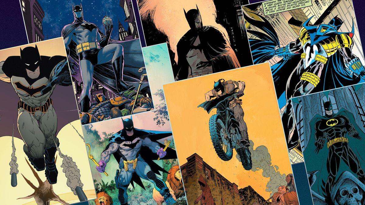 A grid of seven of Batman's costumes in comics