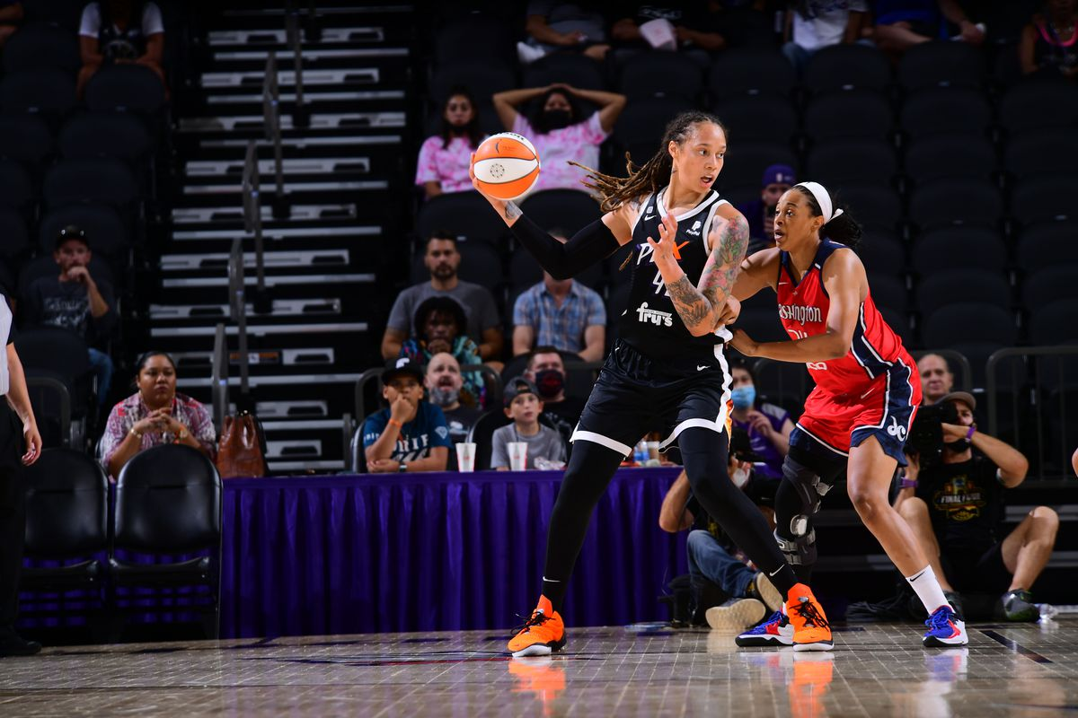 Brittney Griner #42 of the Phoenix Mercury dribbles during the game against the Washington Mystics on August 19, 2021 at Phoenix Suns Arena in Phoenix, Arizona.