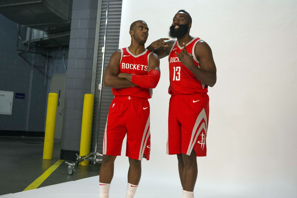 Chris Paul and James Harden pose for a picture