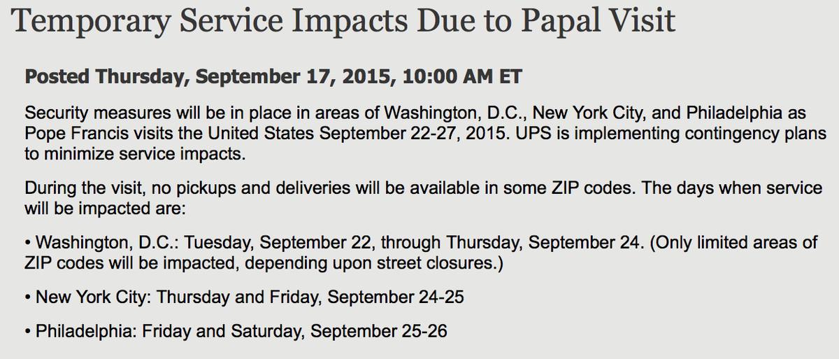 UPS delays