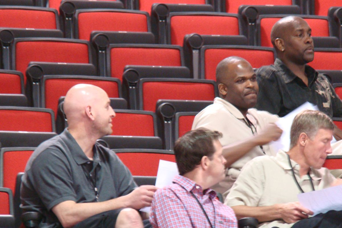 Joe Cronin (far left) -- former intern and now a key piece of the Blazers brain trust -- takes in Summer League action with Brad Weinrich, Nate McMillan, Gary Payton and Mike Born.