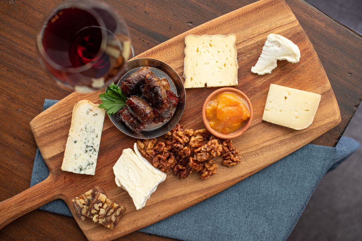 A charcuterie board from A.O.C. in Brentwood, California.