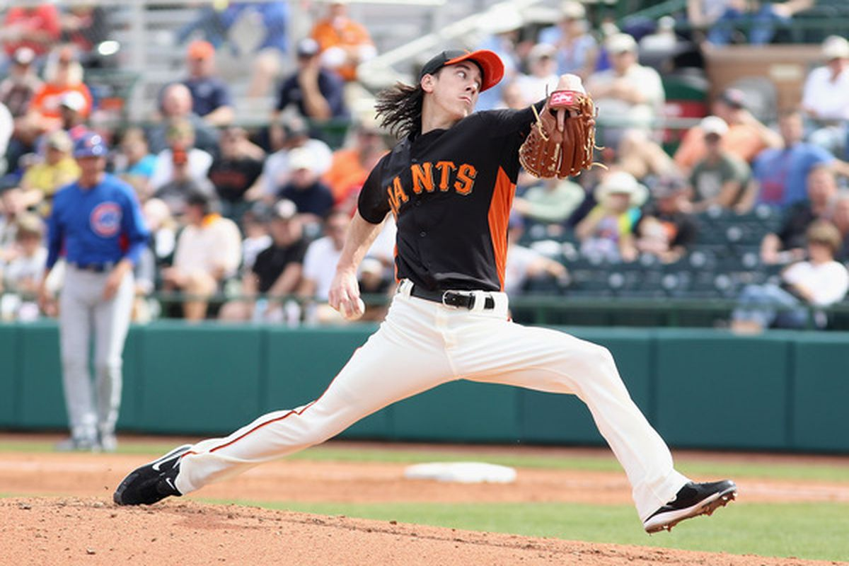 Starting pitcher Tim Lincecum of the San Francisco Giants pitches against the Chicago Cubs during the spring training game at Scottsdale Stadium on March 1, 2011 in Scottsdale, Arizona.  (Photo by Christian Petersen/Getty Images)